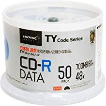 50 Spindle HiDisc CD-R 48X 700MB 80Min (Taiyo Yuden TY Code MID 97m24s01f) White Inkjet Hub Printable Blank Recordable Disc