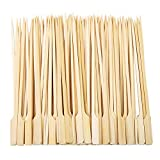 Aneco 100 Pieces Bamboo Paddle Skewers Barbecue Bamboo Skewers Cocktail Sticks for Barbeque, Kebabs, Burgers, Cocktails, Buffets Party (18 cm)