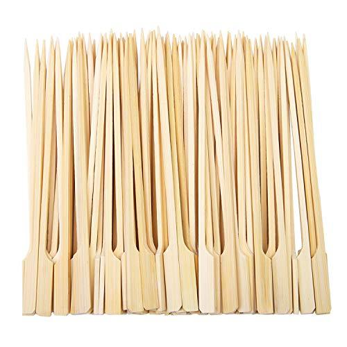Aneco 100 sztuk bambusowych łopatek do grilla bambusowe szpikulce koktajlowe patyczki do grilla, kebabów, burgerów, koktajli, bufetów na imprezę