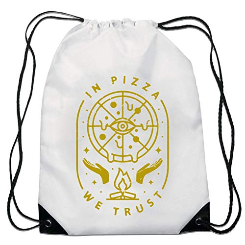 In Pizza We Trust All Seeing Eye Funny Food Lover Bolsa con cordón