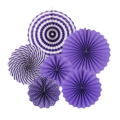 zilue Hanging Purple Paper Fans Decoration Set for Wedding Birthday Party Easter Day Round Events Accessories Set of 6