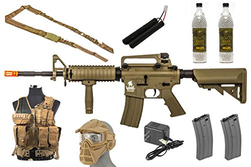 Airsoft Gun Starter Package – Includes AEG Airsoft Gun, Vest, Face Mask and Ammunition for New Players (Tan)