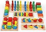 TOWO Figuras geométricas de Madera y Formas de Fracciones - Juego de Figuras para Aprender matemáticas, Aprender Colores y Formas - Juguete Educativo de Madera para niños - Material Montessori