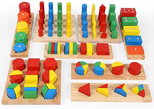 TOWO Holz Sortierspiel mit Geometrische Formen zum Stapeln, Sortieren und Kategorisieren-holz formen Puzzle -geometrische figuren spiel-Pädagogisches Holzspielzeug Montessori Spielzeug für 3 Jahre alt