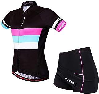 f56371fbfdfa WOSAWE Tuta da Bicicletta Donna, Maglia da Ciclismo a Manica Corta +  Traspirante Gel 4D
