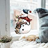 ilka parey wandtattoo-welt Fensterbild Hase Häschen mit Schneemann -WIEDERVERWENDBAR- Fensterdeko Winterdeko Weihnachtsdeko Fensterbilder bf8