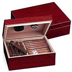 Egoist JK00185 Holz Humidor Box mit Hygrometer für ca. 40 Zigarren, Zigarren-Zubehör - Cherry (Rot)