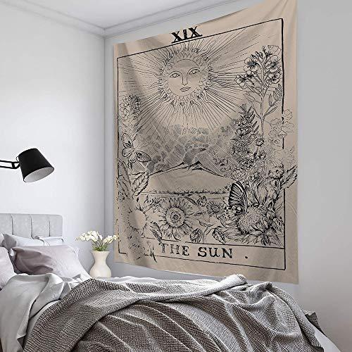 KHKJ Luna Sol Tarot Tapiz Colgante de Pared astrología adivinación Colcha Estera de Playa Manta Decorativa para Sala de Estar Dormitorio A3 150x130cm