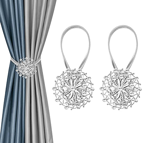 2 PCS Magnetic Curtain Tiebacks, Curtain Holdbacks Magnetic Crystal Flower Window Curtain Decorative No Drilling Drapery Holdbacks with High-Elastic Spring Wire for Home Office Decor (Silver)