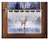 Scheibengardine Hirsch 45 x 120 cm Caféhausgardine Weihnachtsgardine winterliche Landhausdeko