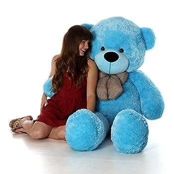 Giant Teddy 5 Foot Life Size Teddy Bear Huge Stuffed Animal Toy Huggable Cute Cuddles Bear  Sky Blue