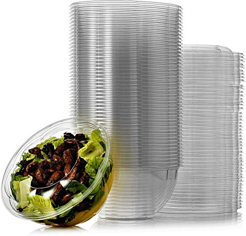 Salad Containers with Lids in Bulk Clear Plastic Disposable for a Fresh Airtight Seal, Portable Serving Bowl Set for Meal Prep & Preserve Freshness (100, 32 oz)