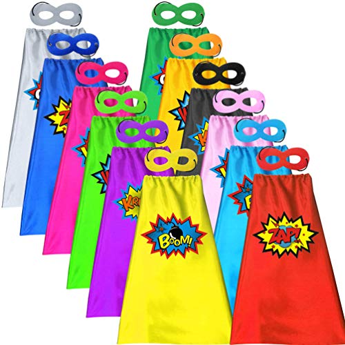 ADJOY 12 Sets of Kids Superhero Capes and Masks with Large...