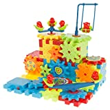 Hey! Play! 81 Piece Interlocking Gear Building Set- STEM Learning Toy, Fun Moving Mechanical Construction Blocks-Educational Set for Boys and Girls