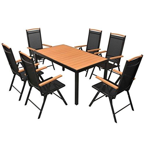 vidaXL Gartenmöbel 7-TLG. mit Klappstühlen Sitzgruppe Gartengarnitur Gartenset Sitzgarnitur Tisch Stühle Esstisch Gartentisch Aluminium Schwarz