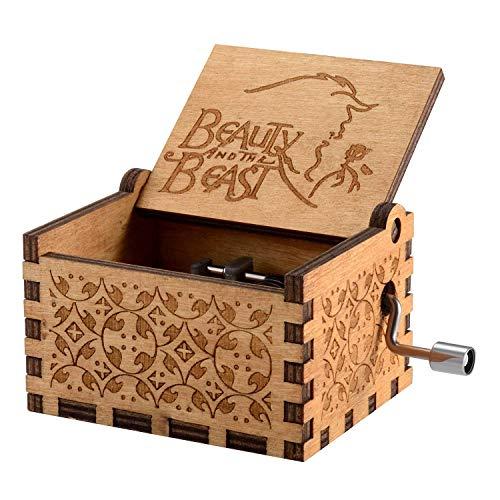 Meiion scatola musicale in legno intagliato antico Musica a manovella: la bella e la bestia