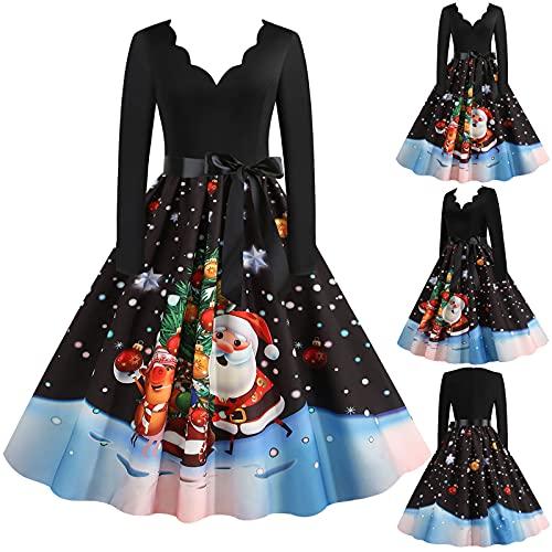 2021 Navidad manga larga Vintage Cóctel Vestidos de fiesta, vestido de mujer de los años 50 A-Line Swing vestido de disfraces de Navidad, 07#, XXL