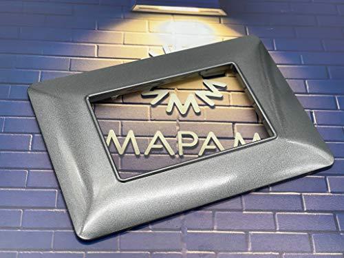 TOT Electric Placche compatibili bTicino MATIX 3 4 6 posti vari colori MODULI PLACCA per supporti 503SA (3 Posti, T11 - Grigio Scuro)