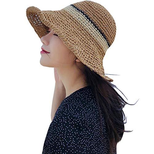 WITERY Cappello da sole floppy paglia a tesa larga pieghevole secchio estivo spiaggia cappello per ragazze donne cachi Taglia unica