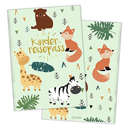Cozy Racoon Reisepasshülle für Kinder   Hochwertige Hülle für den Reisepass Deines Kindes  Design Safari (ohne Personalisierung)