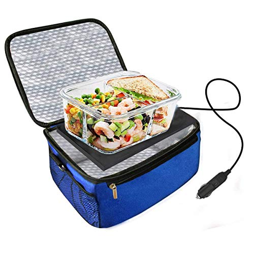 Acutelien Car Food Warmer Portable 12V Personal Mini Oven Electric Heate Lunch Box Using for Meals Reheating & Raw Food Cooking for Road Trip/Camping/Picnic/Family Gathering