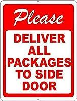 新しいブリキの看板すべてのパッケージをサイドドアの看板に配達してください面白いパブの家の装飾パッケージの配達規則アルミニウム金属の看板壁の装飾8x12インチ