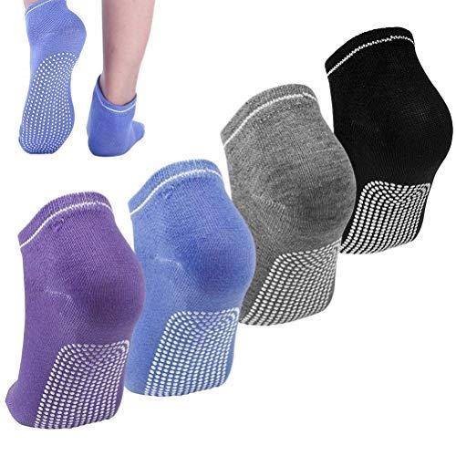 pengxiaomei 4 Pairs Yoga Socks for Women, Non-Slip Socks for Pilates Ballet Dance