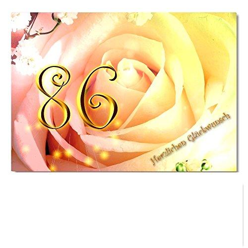 DigitalOase Glückwunschkarte 86. Geburtstag Jubiläumskarte 86. Jubiläum A5 Geburtstagskarte Grußkarte Klappkarte Umschlag #ROSE