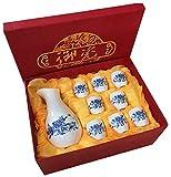 JJDSN Set di Tazze da Sake Giapponese Set di Bicchieri da Vino Bicchieri da Vino in Ceramica Dipinta a Mano in Ceramica -A38
