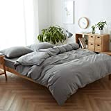FACE TWO FACE 3-Piece Duvet Cover King,100% Washed Cotton Duvet Cover,Ultra Soft and Easy Care,Simple Style Bedding Set (King, Gray)