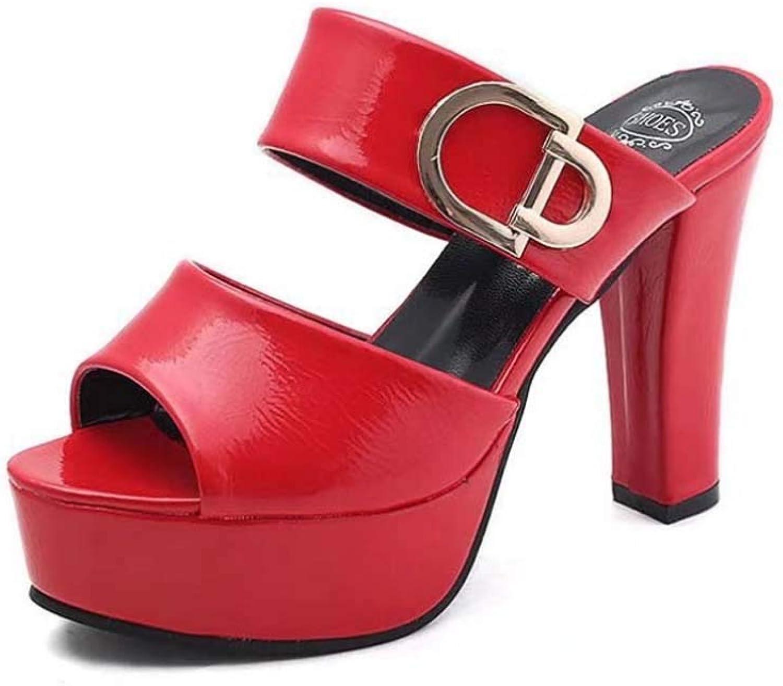 Women High Heel Slippers,Wedge Strap Sandals,Female Laser Summer Sandals One-Word Toe Thick Heel Sandals