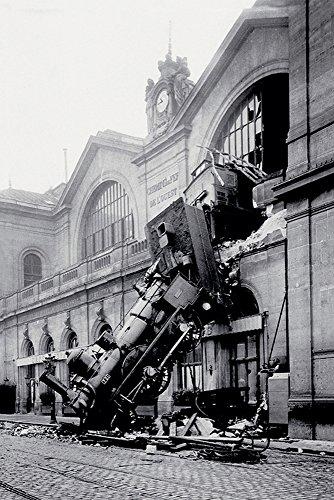 Anonym - Gare Montparnasse - Train Poster Lokomotive Dampflok Unfall Accident - Grösse 61x91,5 cm + 1 Ü-Poster der Grösse 61x91,5cm