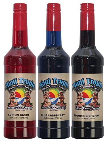 Maui Tropic Snow Cone Syrup - Made with Pure Cane Sugar - 3 Pack