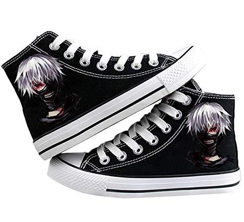 Telacos Tokyo Ghoul Anime Kaneki Ken Cosplay Zapatos de lona Zapatillas Negro/Blanco