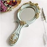BBNBY Espejo de Maquillaje con Luces Espejo de Maquillaje 1 Pieza Rectángulo Espejo cosmético con Mango Espejo de Maquillaje Espejo de Mano de Madera Creativo Lindo Espejo de tocador de Maquillaje