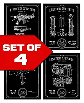 Wallables Black AR-15 Patents Decor Set of Four 8x10 Gun Themed Decorative Prints Great for Bachelor pad Office Living Room.