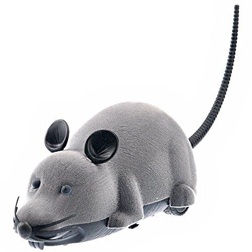 LUOEM Controller Remoto Spaventoso Scherzo Giocattolo a Pile Simulazione Mouse Peluche Topi Gatto Cane Regalo Grigio