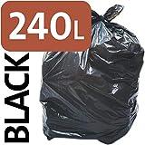 YONGXINXUZE 240L Polyethylen schwarz Hochleistungs-Müllsack mit Rädern ausgekleidet Müllverdichter/Schwerer 240 Liter schwarzer Plastikmüllsack (100 Säcke)