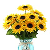 DerBlue 15.74'' Artificial Sunflowers Bouquet with 14 Heads(Two Different Diameter of Flowers) and 40 Leaves Fake Silk Sunflowers Bouquet for Home Office Parties and Wedding Decoration