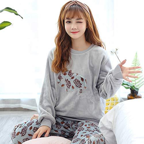 WYTX Pyjama Elefant Flanell Schlafanzug Damen Pyjama Satin Lange Nachtwäsche Mit Hosen Sleepwear Nachtwäsche