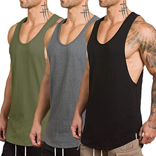 Rexcyril Men's 3 Pack Workout Gym Tank Top Fitness Bodybuilding Stringer Muscle Cut Sleeveless T Shirt Large 3pack