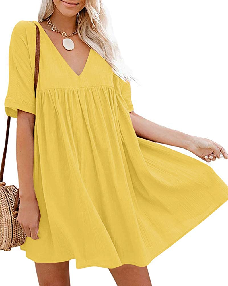 Chvity Women's Casual Short Sleeve Loose Swing Dress V Neck Solid Pleated Babydoll Tunic