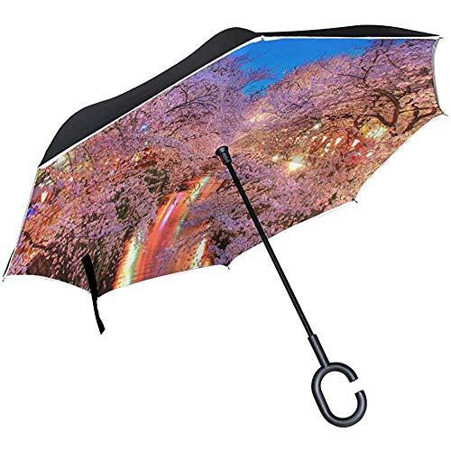 Alice Eva Reverse Umbrella De Sakura bloem en zijn culturele betekenis Double Layer voor de auto