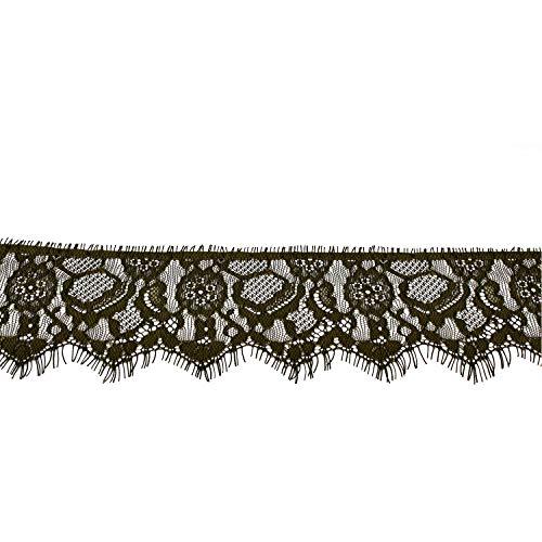 Trimming Shop Naaien Op Kant Wimper Katoen Bordeaux met Geborduurde Bloem voor Dames Jurk, Huistextiel, Netto Rokken, Haarband, Frills, Naaien, 80mm, 3 Meter