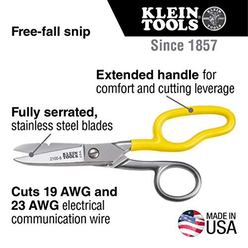 Klein Tools 2100-8 Scissors, Electrician Free Fall Snips, Stainless Steel Cut 19 and 23 AWG Electrical Communication Wire, Cable and Cordage