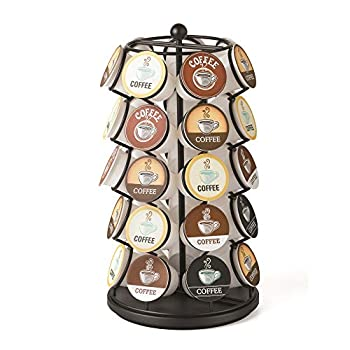 Nifty Coffee Pod Carousel – Compatible with K-Cups 35 Pod Pack Storage Spins 360-Degrees Lazy Susan Platform Modern Black Design Home or Office Kitchen Counter Organizer