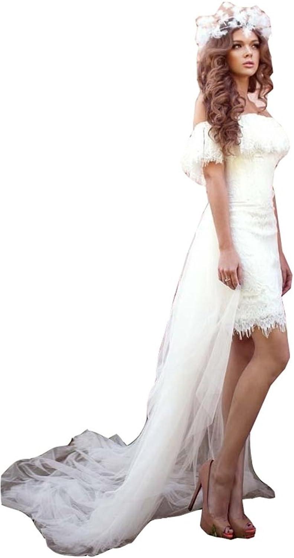 Irenwedding Women's Off Shoulder Lace Applique Tulle Train Beach Wedding Dress