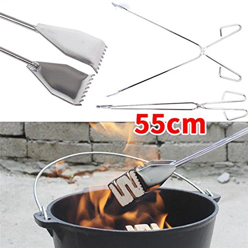 Asdomo Grill Clips, Barbecue Clip,Stainless Steel BBQ Grill Tongs for Steak BBQ Salads Grilling Baking Outdoor Carbon Charcoal Bread Barbecue Picnic Tool 55CM(1PCS)