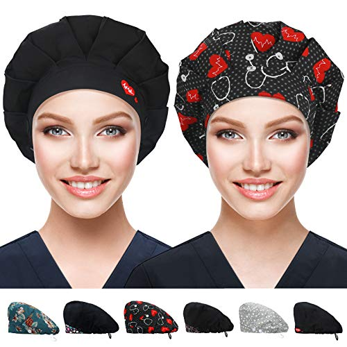2 Pack Bouffant Caps with Button and Sweatband, Adjustable Working Hats for Women Men, One Size Working Head Cover (Stethoscope + Black EMB)