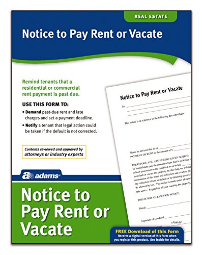 Adams Notice to Pay Rent or Vacate, Forms and Instructions [Print and Downloadable] (LF280), White